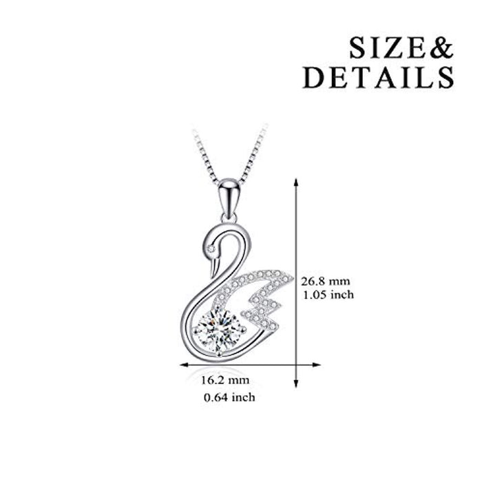 925 Sterling Silver Swan Pendant Necklace with AAA Cubic Zirconial Jewelry 18""