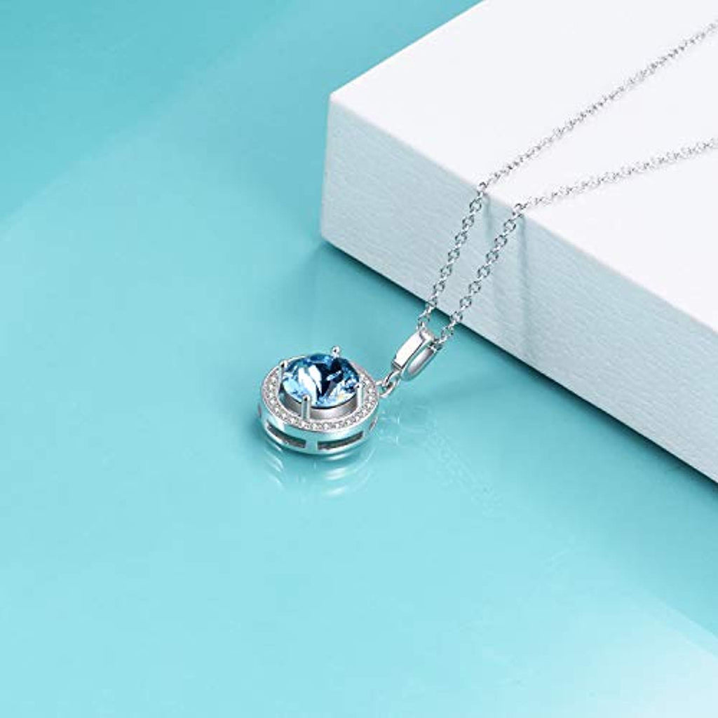 Halo Necklace White Gold Plated Birthstone Pendant Necklace with Simulated Aquamarine Swarovski Crystal,Wedding Engagement Gift for Women