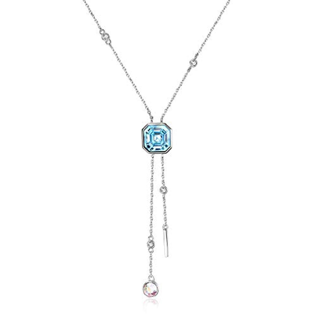 Square Crystal Necklace Birthstone Pendant Necklace with Blue Swarovski Crystal,Fine Jewelry Gift for Women Girls