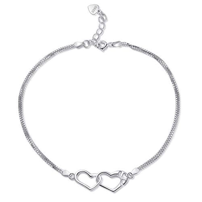 Sterling Silver Anklet Chain Heart Bracelet Beach Foot Jewelry for Women Little Girls