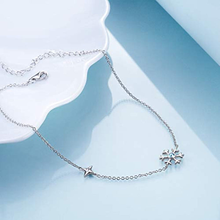 Ankle Bracelet for Women Girls with Swarovski Crystal, Aquamarine Blue Snowflake Dainty Beach Anklet 10'' Adjustable