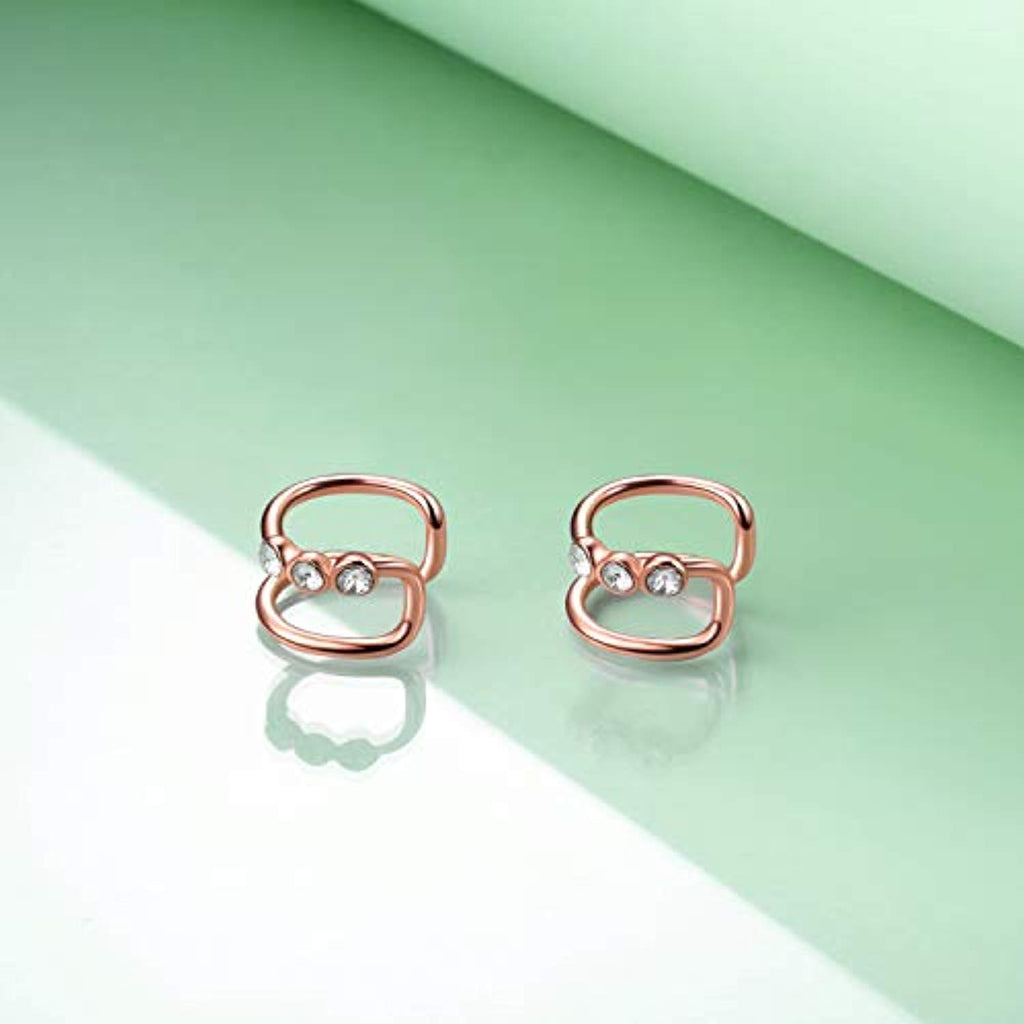 Ear Cuffs for Non Pierced Ears Rose Gold Plated Earrings with Swarovski Crystal