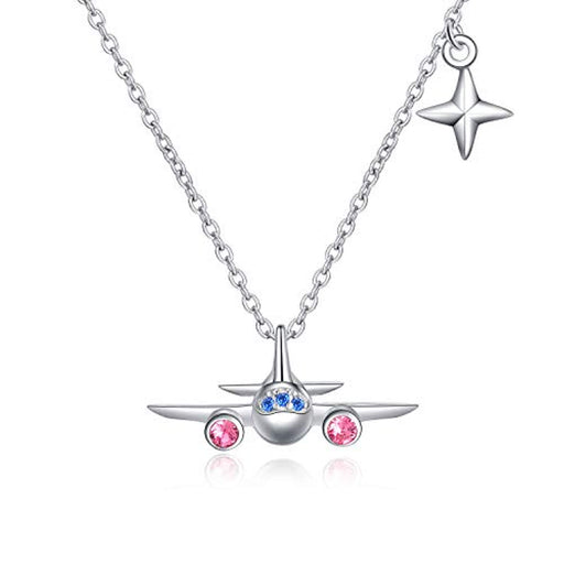 Airplane Pendant Necklace North Star Adjustable Necklace with Crystal Crystals, welry Stewardess Flight Attendant Traveler