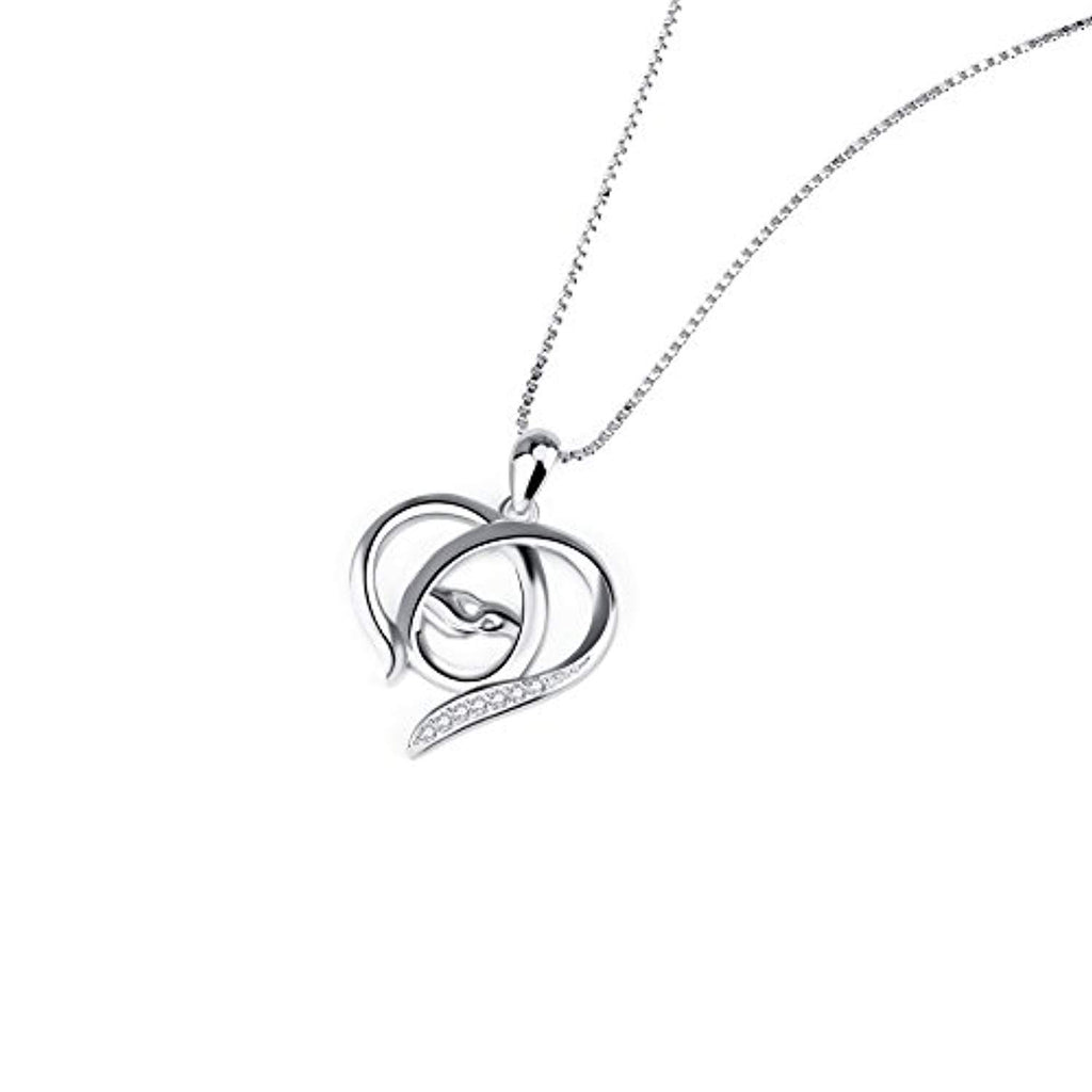 Mother and Child Hands Eternal Open Love Heart Sterling Silver Pendant Necklace, 18