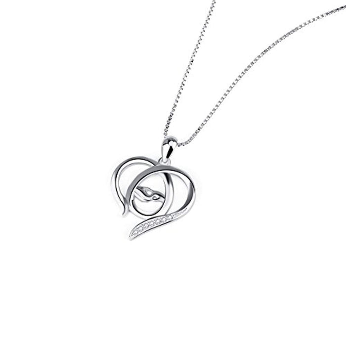 Mother and Child Hands Eternal Love Heart Sterling Silver Pendant Necklace, 18""