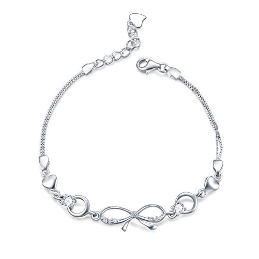 Simple Infinity Sterling Silver Link Chain Adjustable 6.5