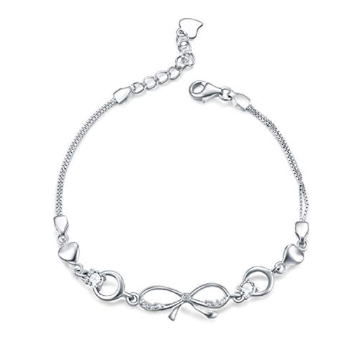"Simple Infinity Sterling Silver Link Chain Adjustable 6.5""+1.5"" Extender Bracelet"