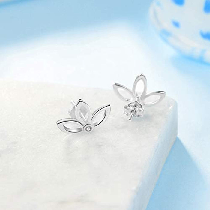 Lotus Flower Pierced Earrings Sterling Silver Chic Jacket Studs Earrings for Women Girls