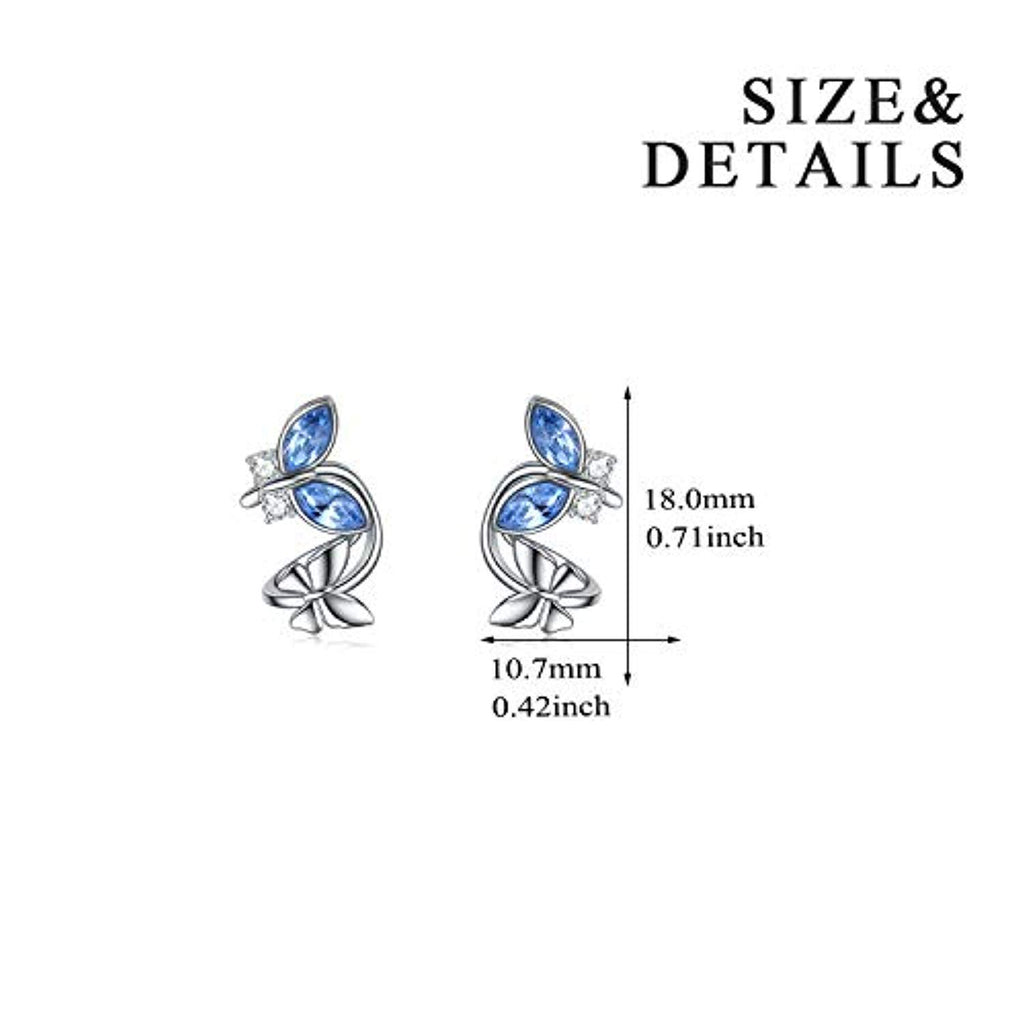 Sterling Silver Cuff Earrings Series with Swarovski Crystal for Women Girls