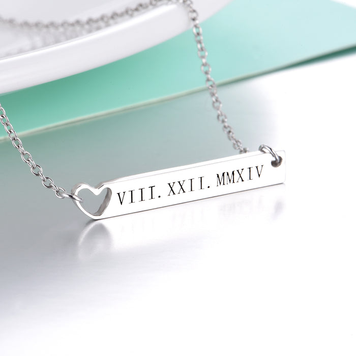 "Personalized Heart Engravable Bar Necklace Adjustable 16""-20"""