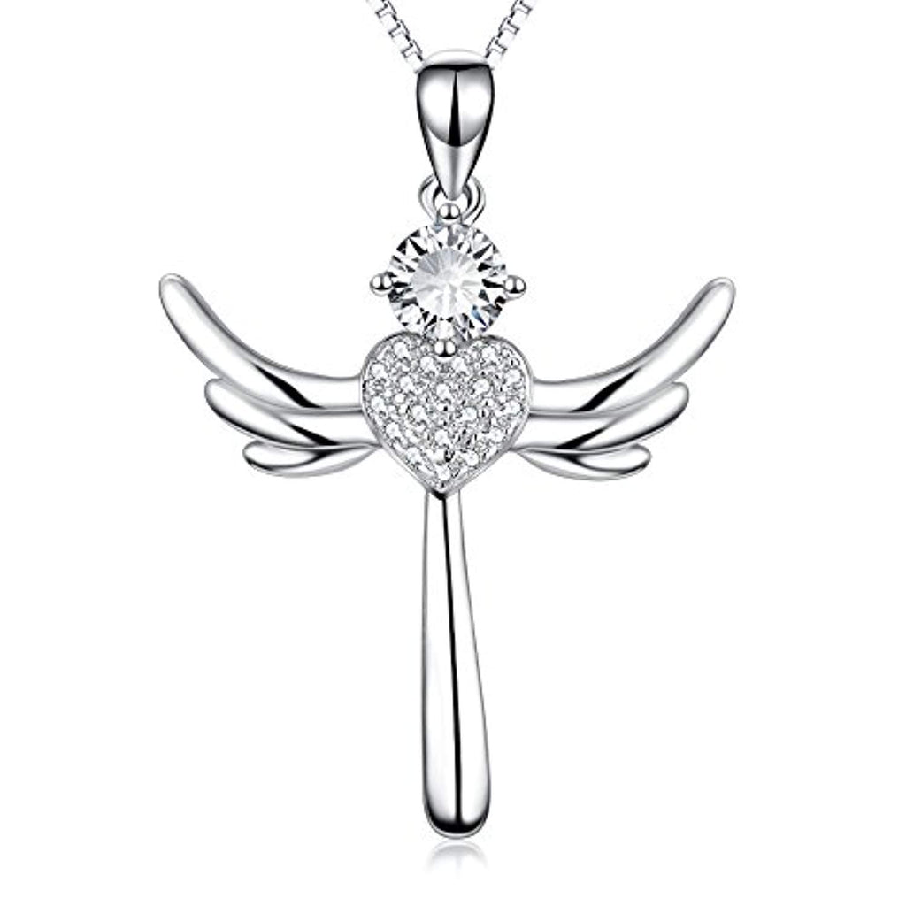 Eternal Love Heart Jewelry 925 Solid Silver Religious Angel Wing Cross Pendant Necklace