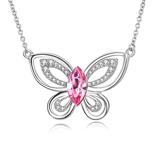 Butterfly Necklace Pink Crystal Butterfly Pendant Necklace with Swarovski Crystal,Jewelry Gift