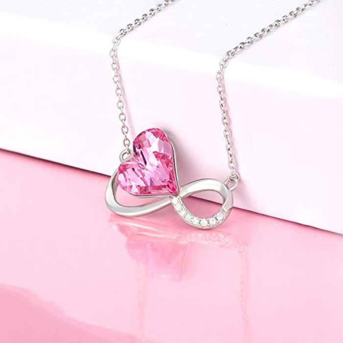 Infinity Pendant Necklaces with Swarovski Crystals Pink Jewelry
