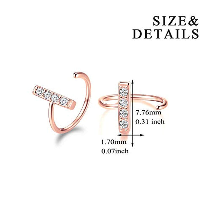 Bar Huggie Earrings Sterling Silver Ear Hoop Body Piecing Nose Rings Earrings Jewelry Gifts