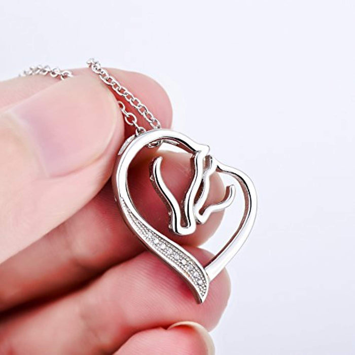 S925 Sterling Silver Mother and Child Horse Head Heart Shape Pendant Necklace 18""
