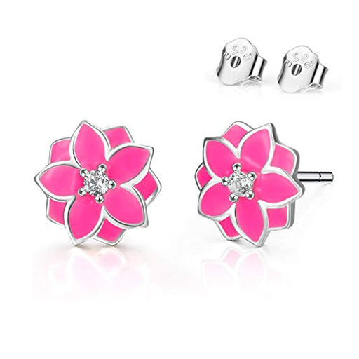 Stud Earrings for Girls Sterling Silver Enamel Pink Flower Earrings