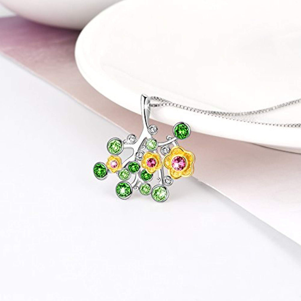 August Sterling Silver Peridot Necklace for Girls and Women Flower Tree of Life Grandma Jewelry Gift Crystals Pendant