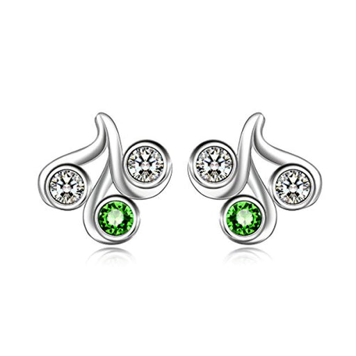 925 Sterling Silver Simulated Peridot Stud Earrings With Green Swarovski Crystals,August Jewelry