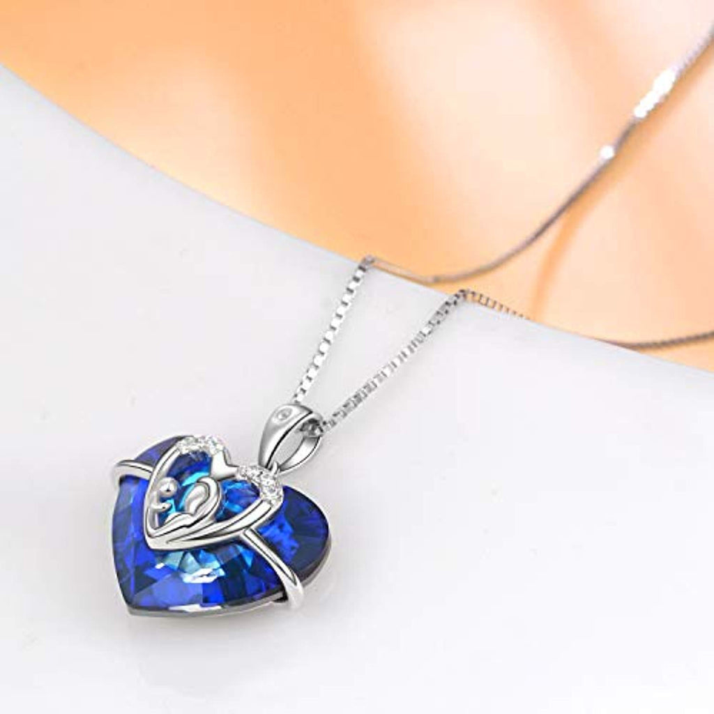 Mom & Child Necklace with Blue Heart Swarovski Crystals Mothers Birthday Gifts