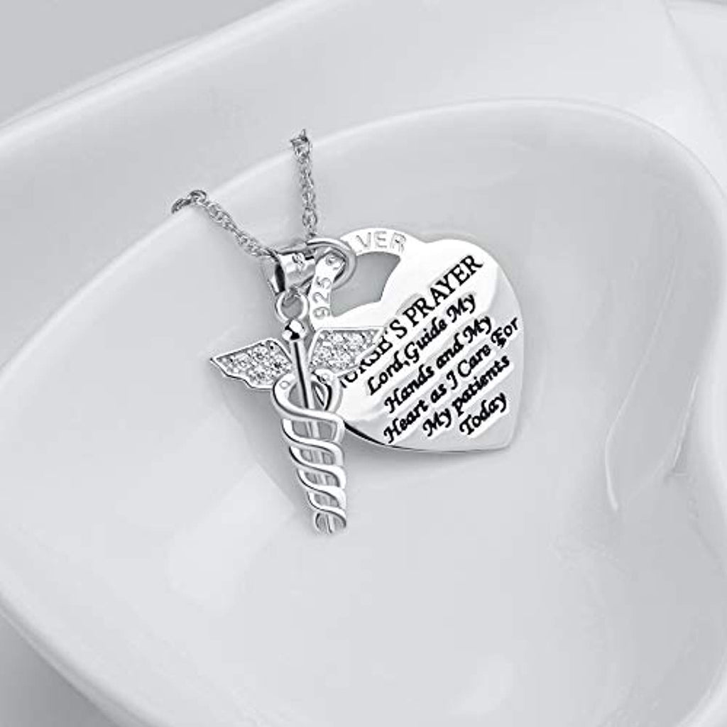 925 Sterling Silver Caduceus Angel Nursing Themed Pendant Necklace 18