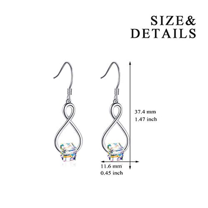 Sterling Silver Cube Crystal Earrings with Swarovski Crystals Jewelry for Her