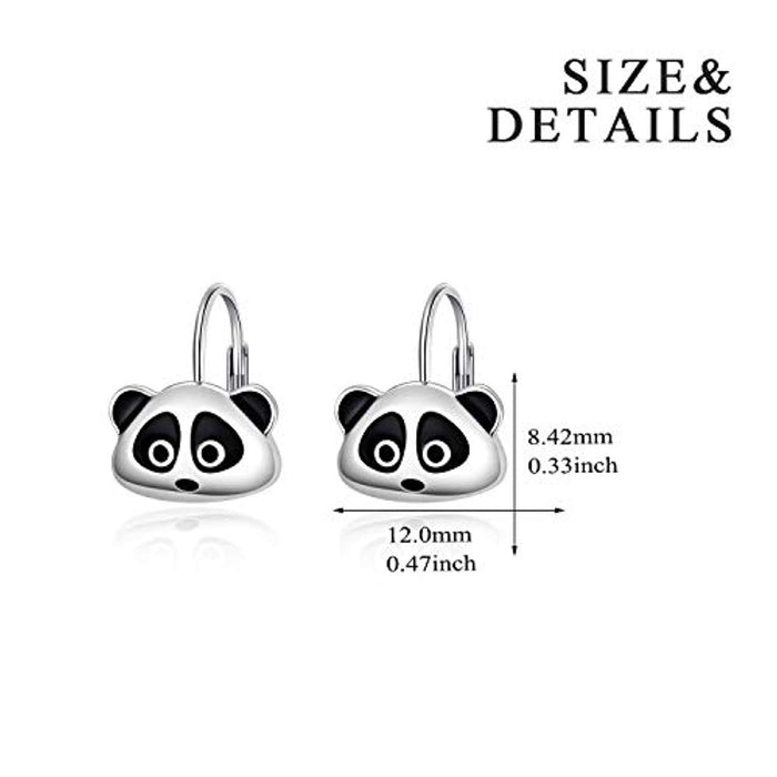 Sterling Silver Cute Raccoon Leverback Earrings Hoop Dangle Earrings Gifts