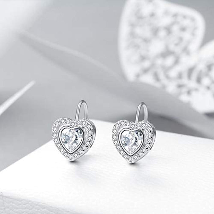 Heart Halo Earrings for Women Hypoallergenic Silver Leverback Dangling  Earrings with Swarovski Crystal