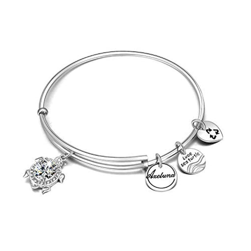 Love Sea Turtle Bracelets Sterling Silver Tortoise Wire Bangles Beach Jewelry