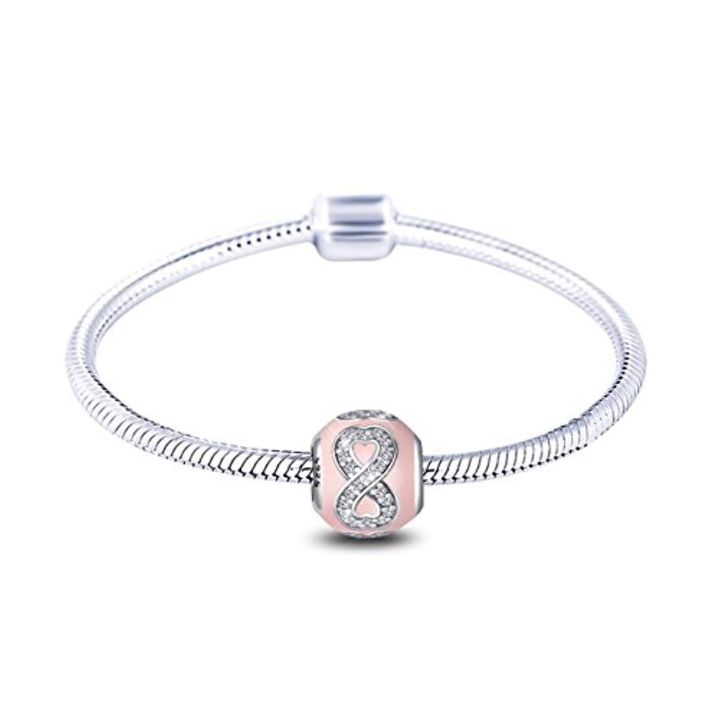 Sterling Silver Murano Charms Crystal Cubic Zirconia Chamilia European Bead for Bracelet Necklace