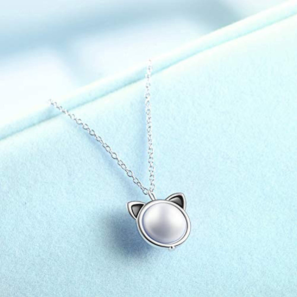 Sterling Silver Freshwater Pearl Cat Pendant Necklace for Women Girls Gifts for Cat Lovers