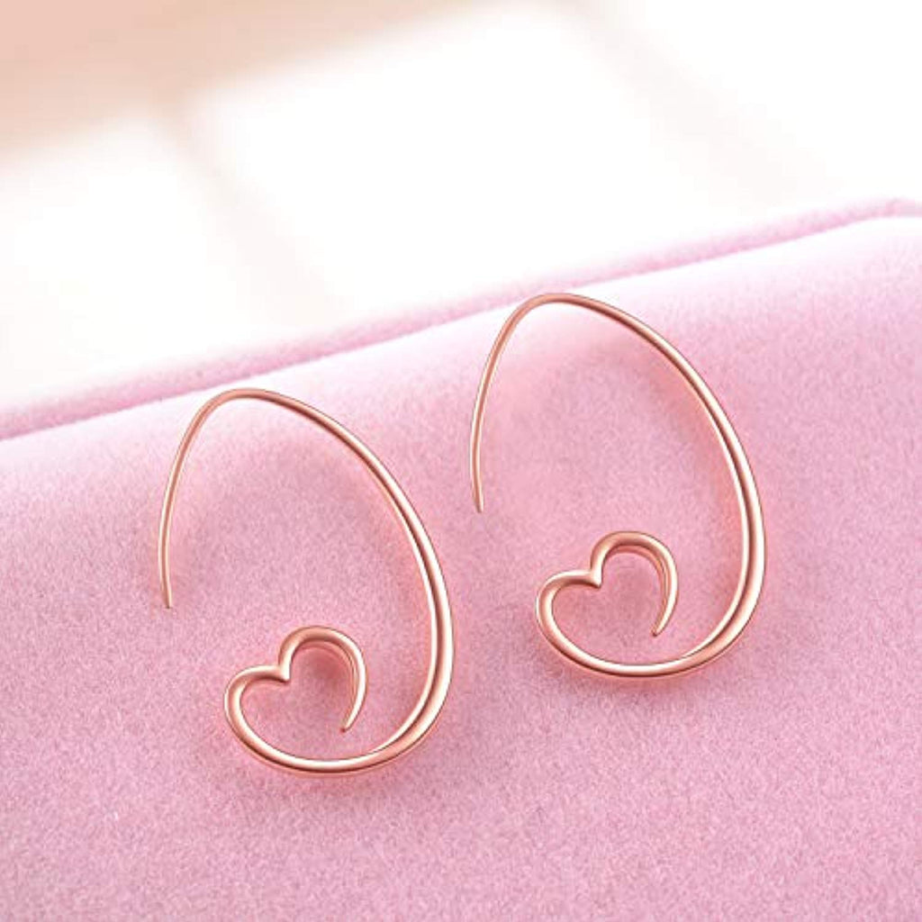Rose Gold Plated Sterling Silver Love Earrings Jewelry with Cubic Zircon