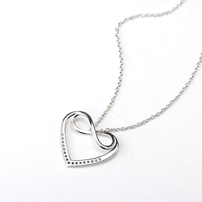 "Infinity Heart Love Pendant 925 Sterling Silver Cubic Zirconial Rolo 18"" Chain Necklace"