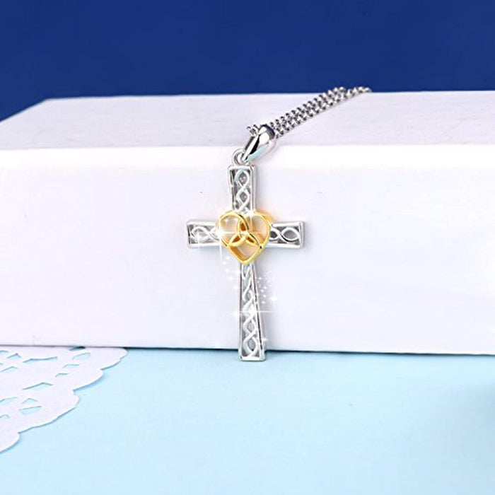 Religious Jewelry 925 Sterling Silver Two-Tone Eternal Love Heart Celtic Knot Cross Pendant Necklace