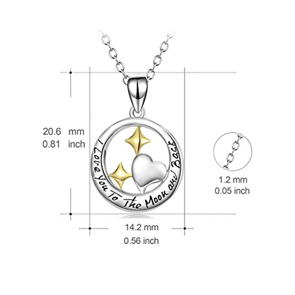 I Love You to The Moon and Back Sterling Silver Heart and Star Pendant Necklace