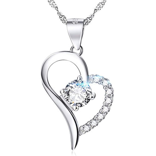 White Gold Plated Heart Necklace Sterling Silver Love Promise Jewelry for Women Wife Girlfriend Daughter Aunt (White)