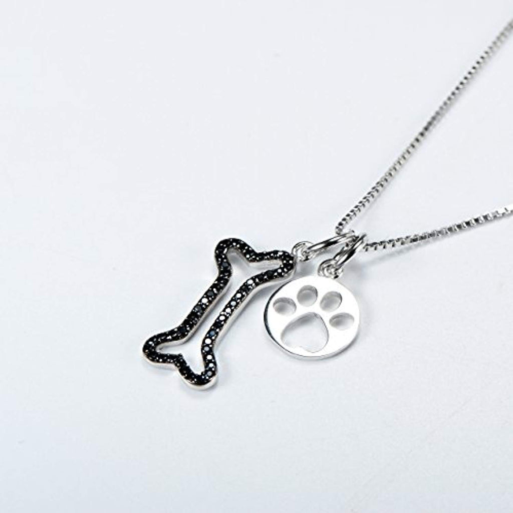 Women Silver Set Pendant Jewelry 925 Sterling Silver Two-tone Puppy Bone and Cat Paw Necklace,18