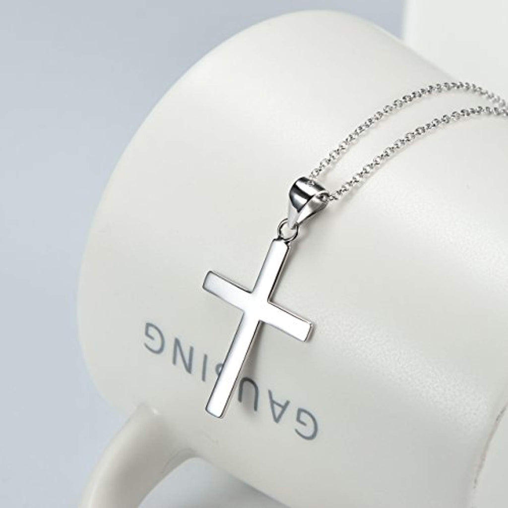 Sterling Silver Infinity Cross Pendant Necklace for Women Girls Boys