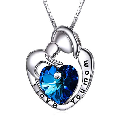 Mom Necklace 925 Sterling Silver Mother and Child Heart Pendant with Blue Crystal Crystals-Mothers Birthday Jewelry Gifts
