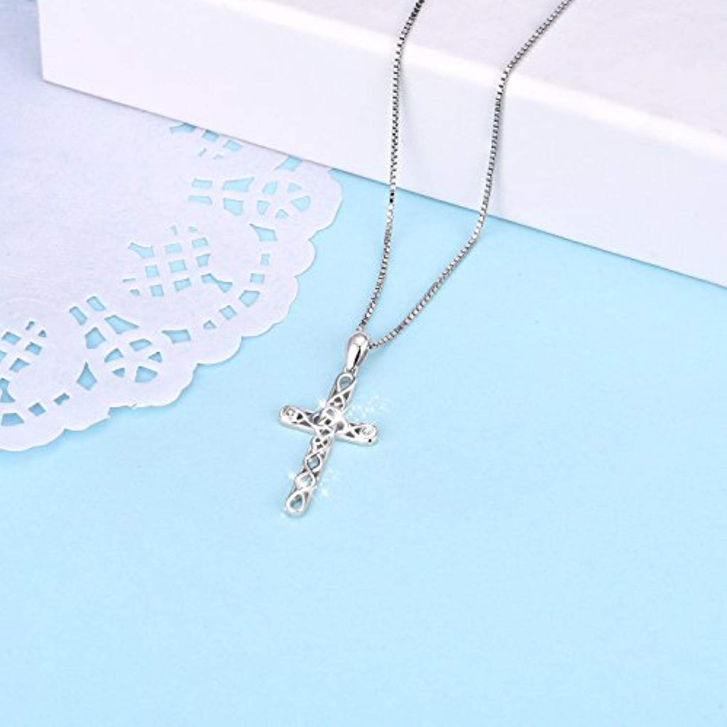 Religious 925 Sterling Silver Irish Celtic Knot Cross Pendant Necklace