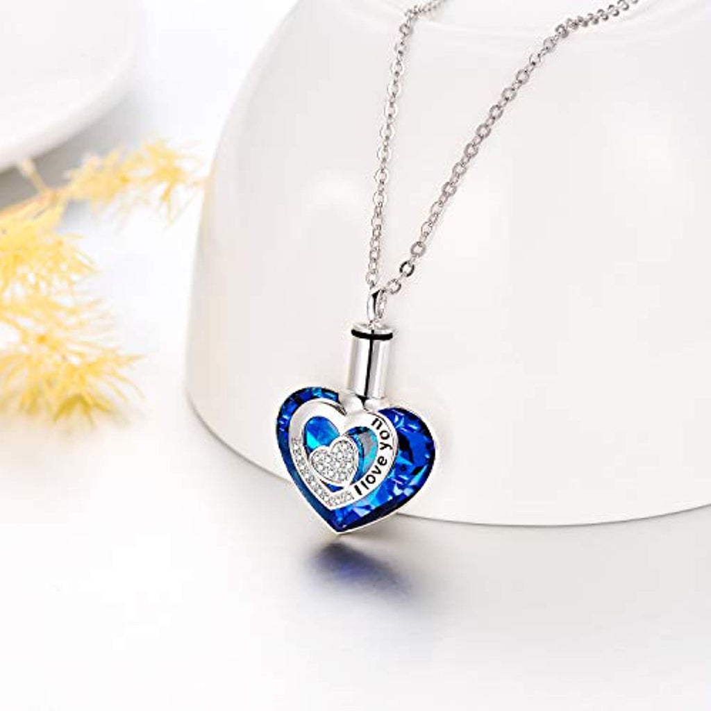 925 Sterling Silver Urn Necklaces for Ashes Engraved I Love You Pendant Cremation Necklace with Blue Heart Crystal Crystals