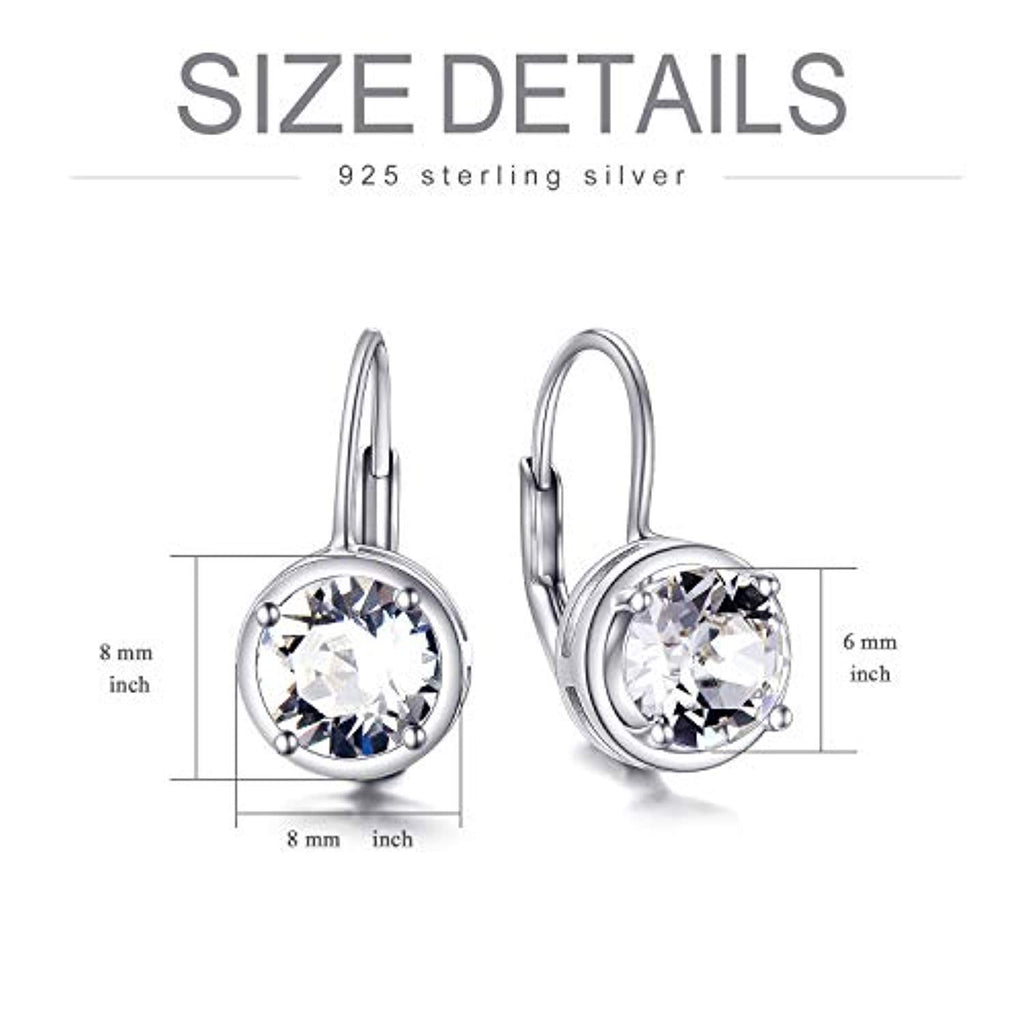 Round Cut Leverback Earrings Made with Swarovski Crystals Created 6mm Gemstones Classic Dangle Earrings
