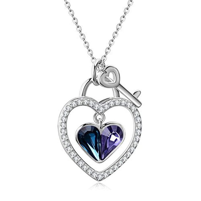 Lock and Key Heart Pendant Necklace Made with Blue Purple Swarovski Crystals,Love Heart Jewelry Gifts for Women Girls