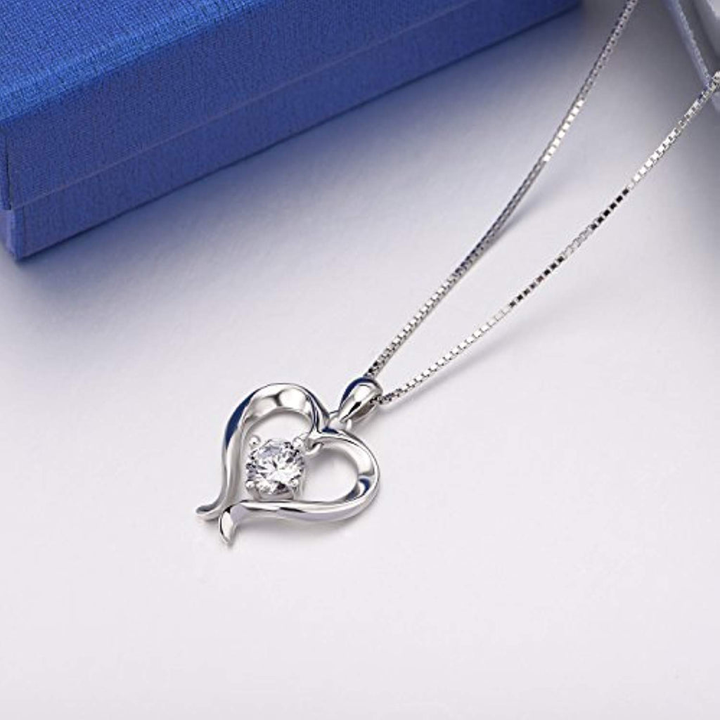 Open Heart Pendant Necklace Sterling Silver Cubic Zirconia Eternal Love Jewelry Gift