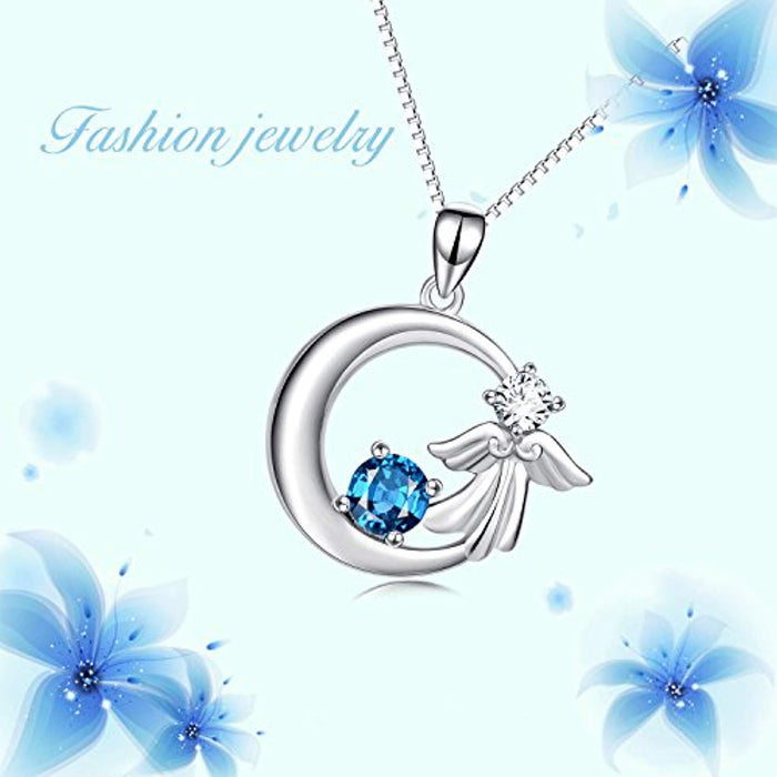 "925 Sterling Silver Angel Wings Crescent with Blue Crystal Pendant 18"" Necklace"