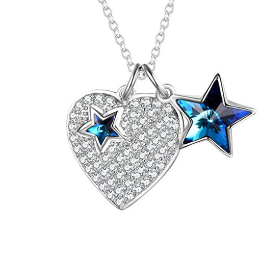 Lucky Star Necklace 925 Sterling Silver Heart Pendant with Blue Swarovski Crystals Star Jewelry Birthday Gifts