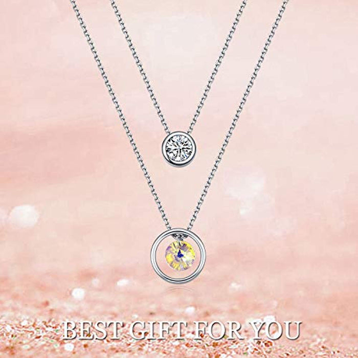 Double Layered Necklace Choker Circle Pendant Chain Necklace with Crystal Crystal