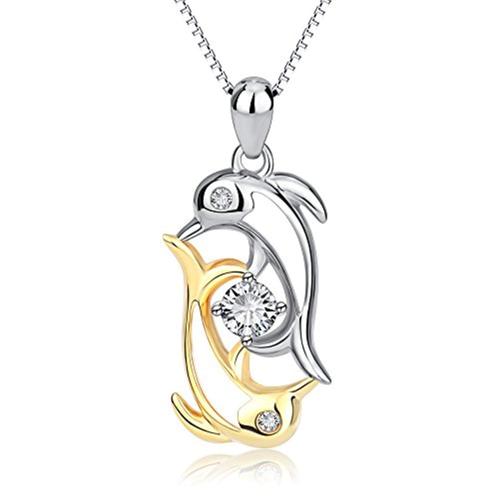 Double Dolphins Crystal Pendant Necklace with 18K Gold Overtone Sterling Silver,18