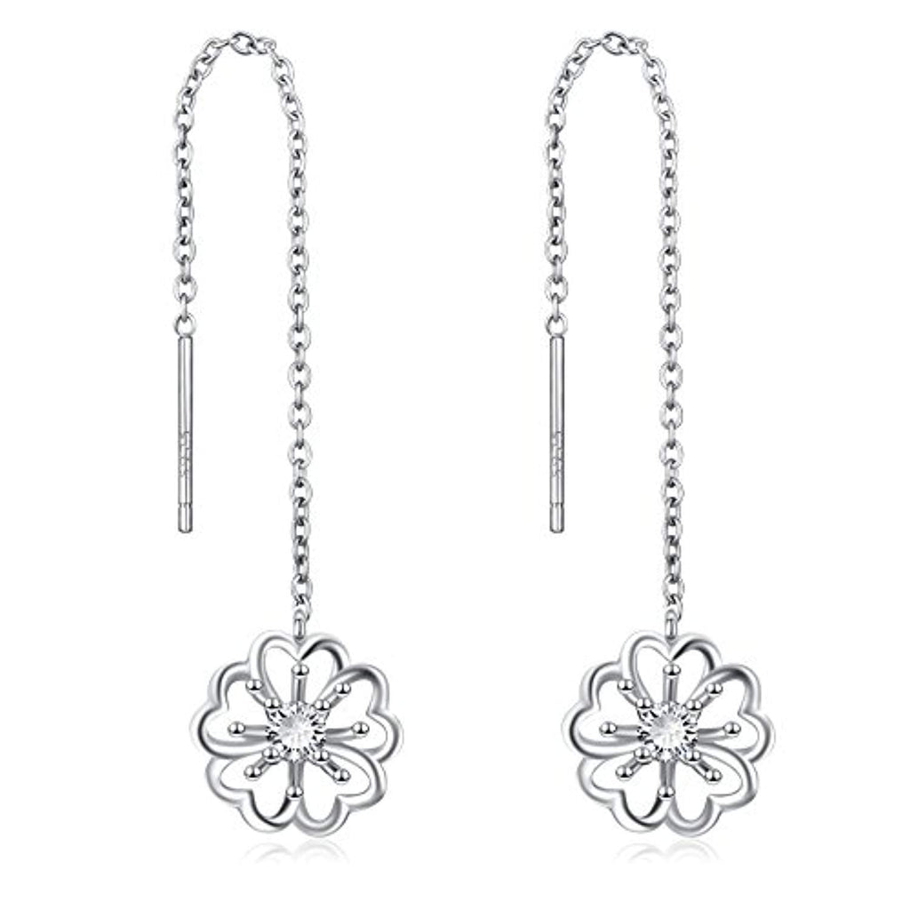 Threader Earrings Sterling Silver Leaf Heart Daisy Flower Teardrop Dangle Drop Pull Through Stud Earrings for Women Girls