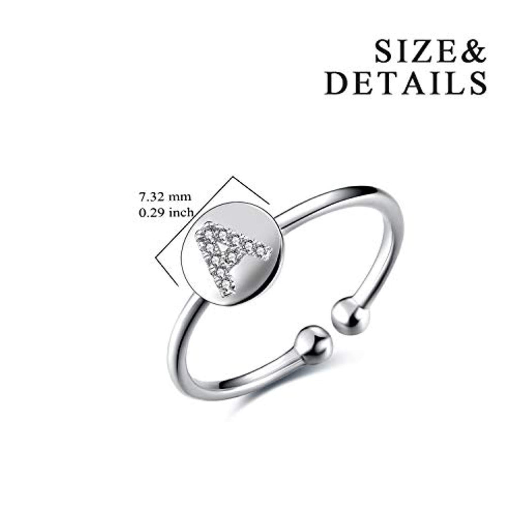 S925 Sterling Silver Cubic Zirconia 26 Initial Letters Alphabet Personalized Adjustable Ring Size for 7-8