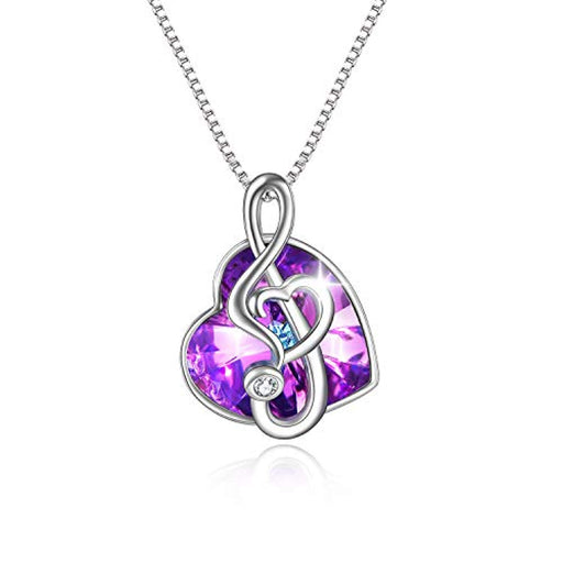 Dance with Me Purple Music Note Necklace for Women My Girls Heart Shaped Vitrail Color Changing Crystal Pendant with Crystal Element